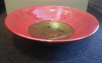 Red Bowl with lustre glazes by Danny Moorwood